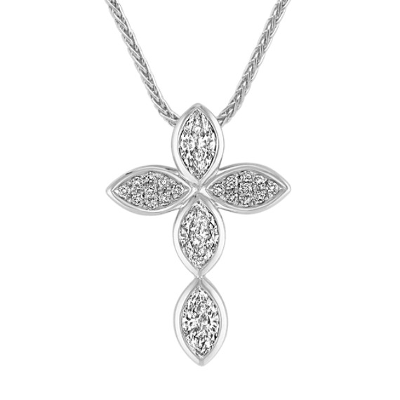 "Marquise and Round Diamond Cross Pendant (18"")"