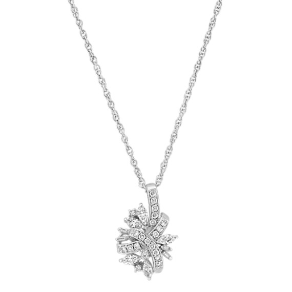 "Marquise, Baguette, and Round Diamond Pendant (18"")"