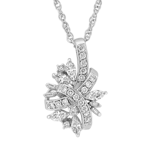 Marquise, Baguette, and Round Diamond Pendant (18)