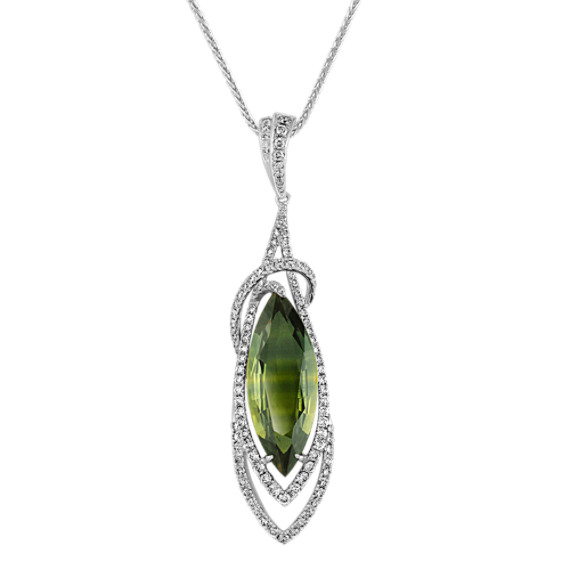 "Marquise Green Sapphire and Round Diamond Pendant (18"")"