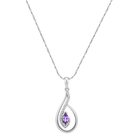 "Marquise Lavender Sapphire and Round Diamond Drop Pendant (22"")"
