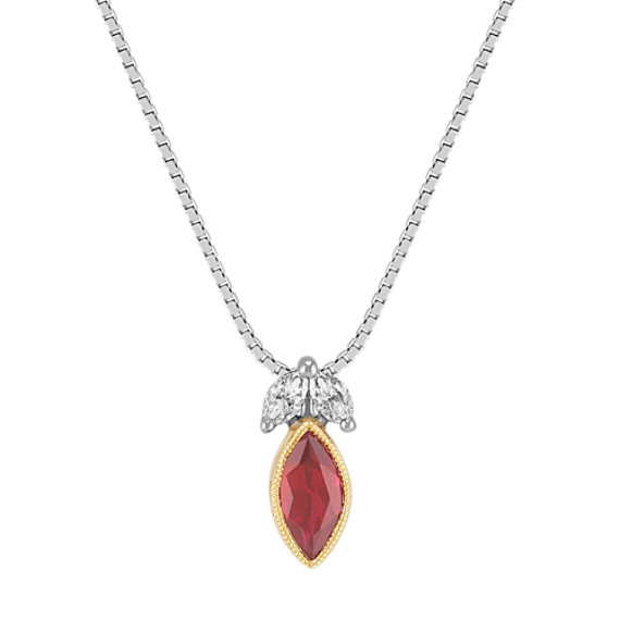 Marquise Ruby and Marquise Diamond Pendant in Two-Tone Gold (18)
