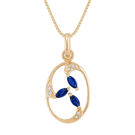 "Marquise Sapphire and Diamond Pendant (18"")"