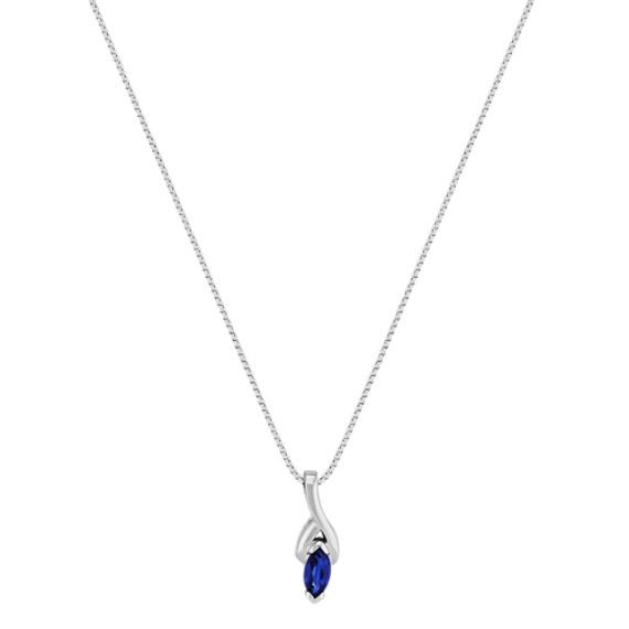 "Marquise Sapphire Pendant (18"")"