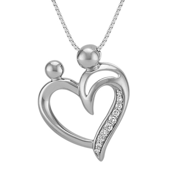 "Mother and Child Heart Pendant with Round Diamonds (18"")"