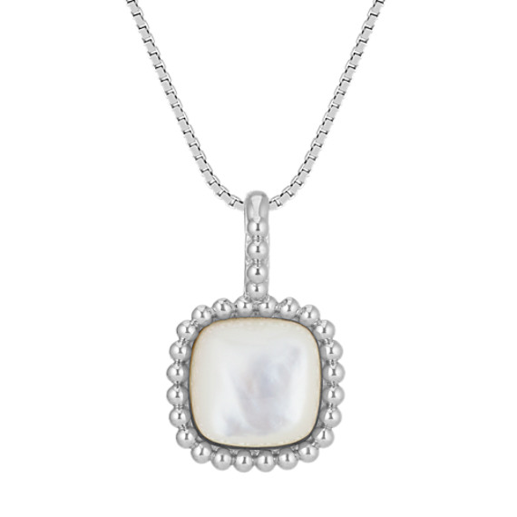 """Mother of Pearl Pendant in Sterling Silver (18"""")"""