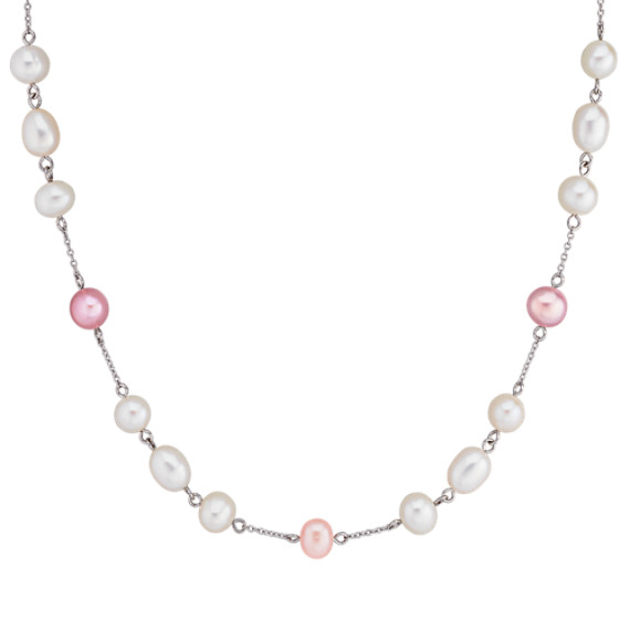 Multi-Colored Pearl and Sterling Silver Necklace (36) 6.5-8mm Freshwater