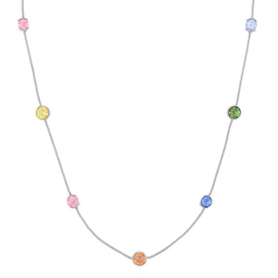 Multi-Colored Round Sapphire Necklace (22)