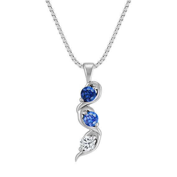 Multi-Colored Sapphire Three-Stone Pendant (18)