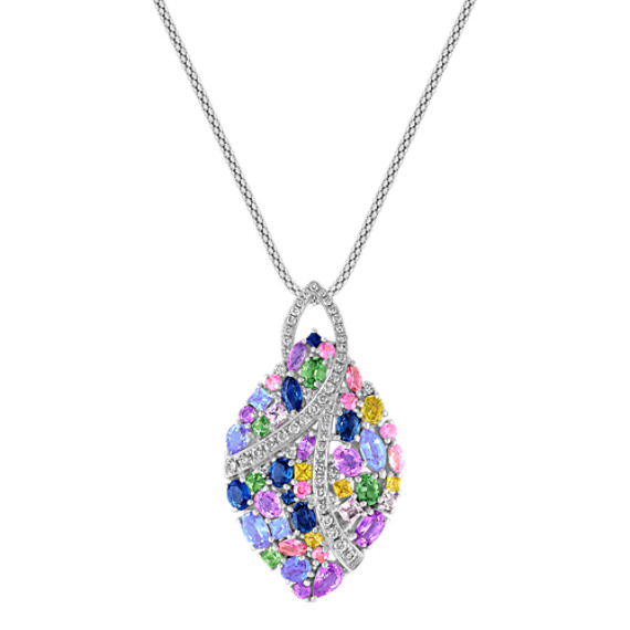 "Multi-Shaped and Multi-Colored Sapphire and Diamond Pendant (22"")"