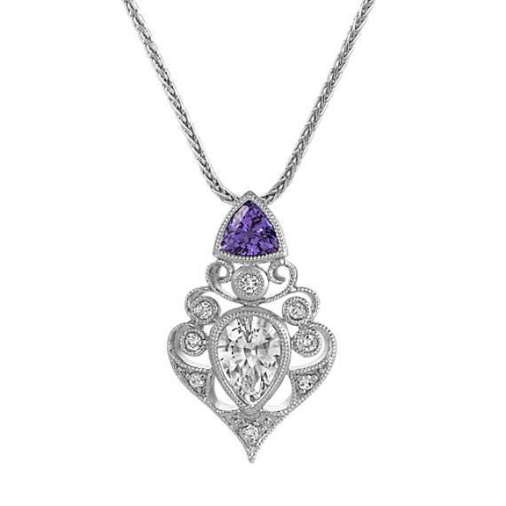 "Multi-Shaped White Sapphire, Lavender Sapphire and Diamond Pendant (20"")"
