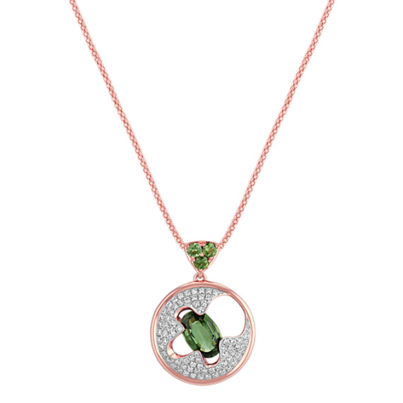 "Oval and Round Green Sapphire and Round Diamond Circular Pendant (18"")"