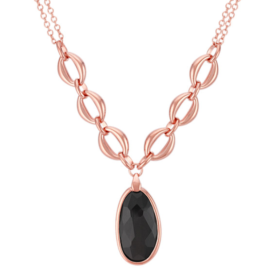 "Oval Black Agate and Rose Sterling Silver Necklace (17"")"