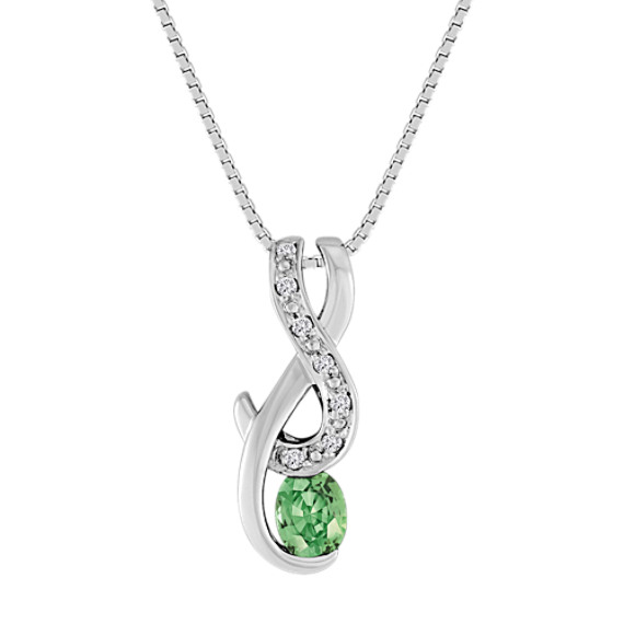 "Oval Green Sapphire and Diamond Pendant (18"")"