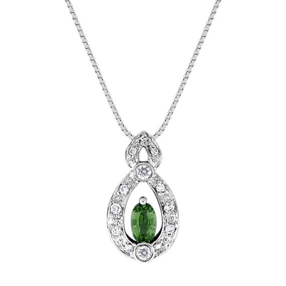 "Oval Green Sapphire and Diamond Pendant (18"")"