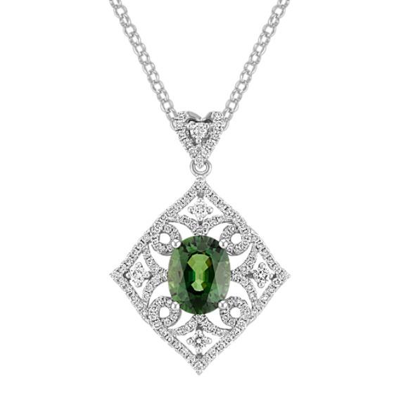 "Oval Green Sapphire and Round Diamond Pendant (18"")"