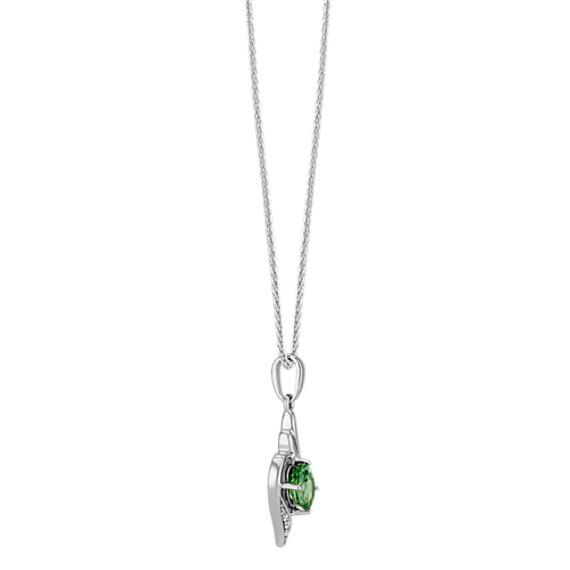 "Oval Green Sapphire and Round Diamond Pendant (22"")"