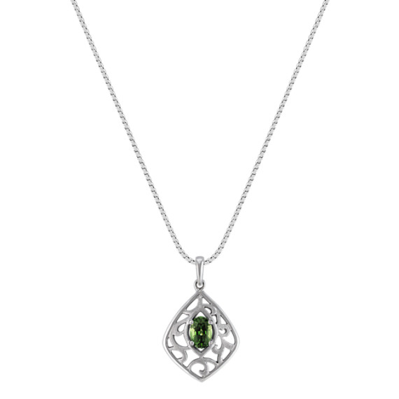 "Oval Green Sapphire and Sterling Silver Pendant (18"")"