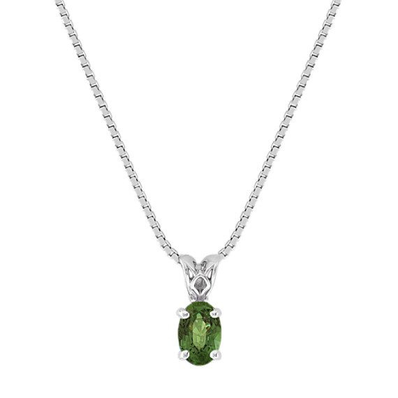 "Oval Green Sapphire Pendant (18"")"