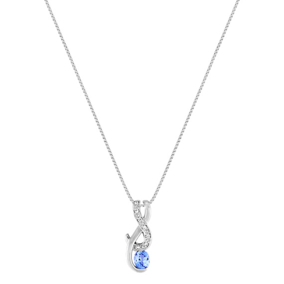"Oval Ice Blue Sapphire and Diamond Pendant (18"")"