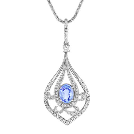 "Oval Ice Blue Sapphire and Round Diamond Pendant (22"")"