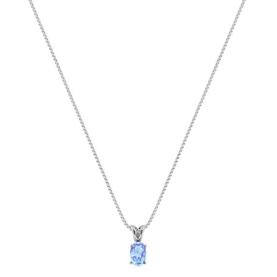 "Oval Ice Blue Sapphire Pendant (18"")"