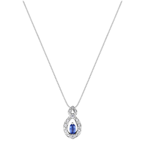 "Oval Kentucky Blue Sapphire and Diamond Pendant (18"")"