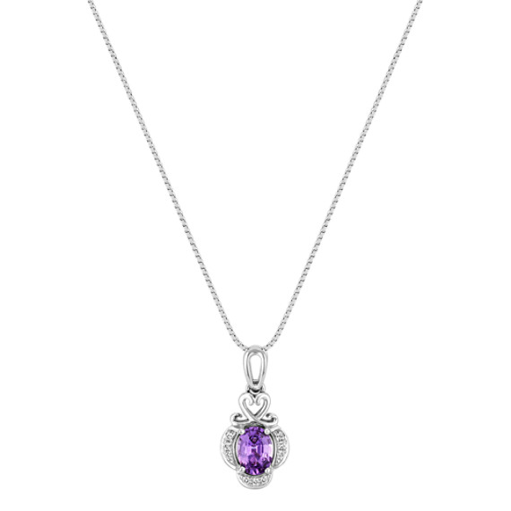 Oval Lavender Sapphire and Diamond Engraved Pendant (18)