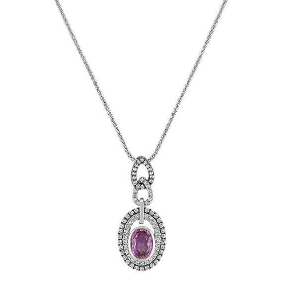 Oval Lavender Sapphire and Diamond Pendant with Black Rhodium (22)