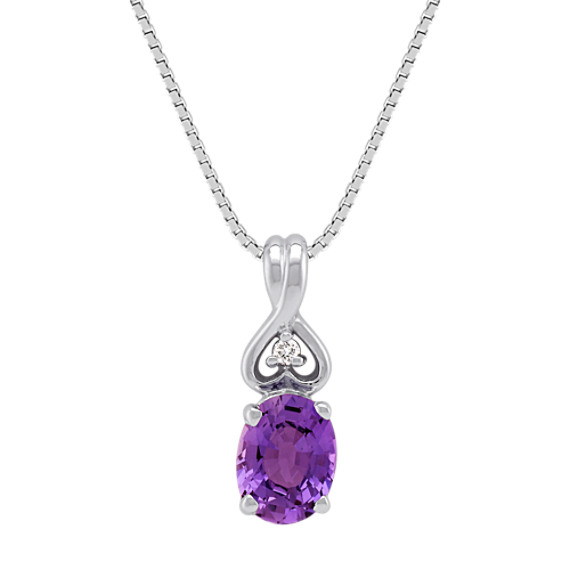 Oval Lavender Sapphire and Diamond Pendant (18)