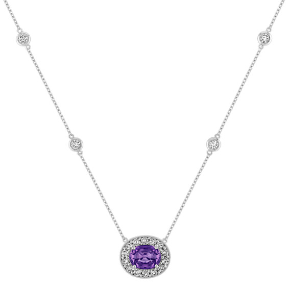 "Oval Lavender Sapphire and Round Diamond Necklace (16"")"