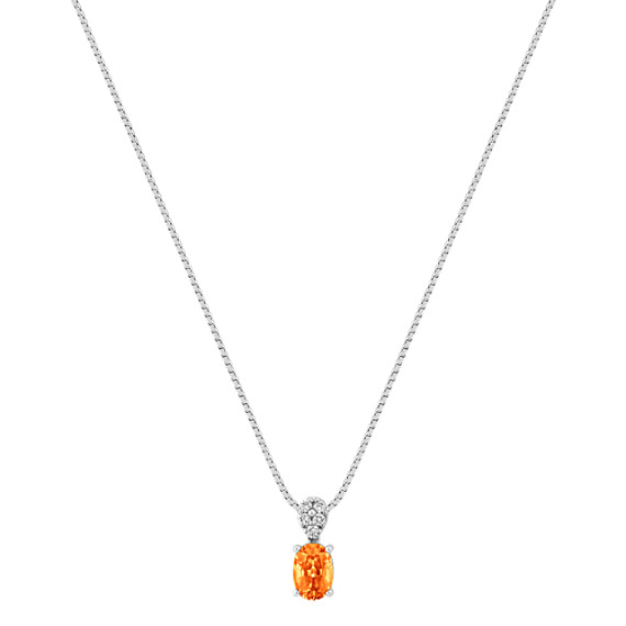 Oval Orange Sapphire and Round Diamond Pendant (18)