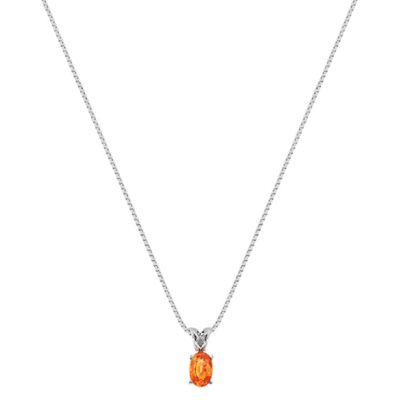 "Oval Orange Sapphire Pendant (18"")"