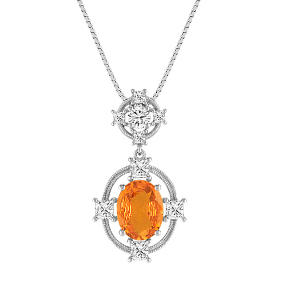 Oval Orange Sapphire, Princess Cut and Round Diamond Pendant (18)