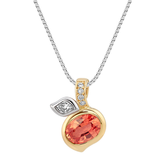 "Oval Peach Sapphire, Calla Cut and Round Diamond Pendant in Two-Tone Gold (18"")"
