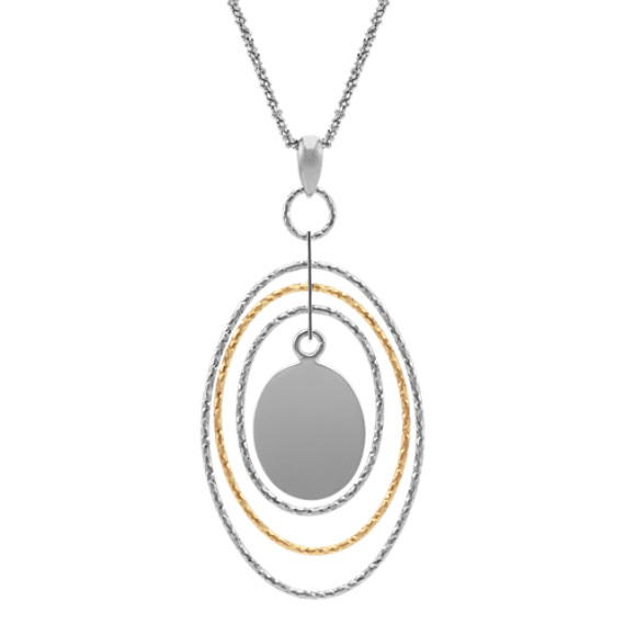 Oval Pendant in Two-Tone Sterling Silver (18 in.)