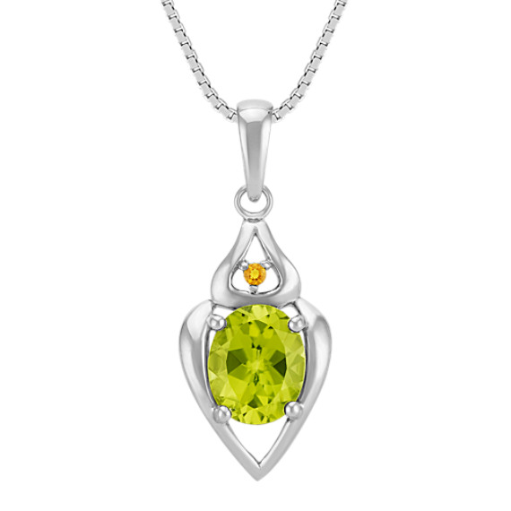 """Oval Peridot and Round Citrine Pendant in Sterling Silver (18"""")"""