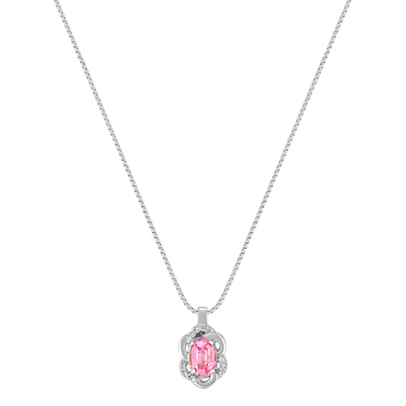 "Oval Pink Sapphire and Diamond Pendant (18"")"