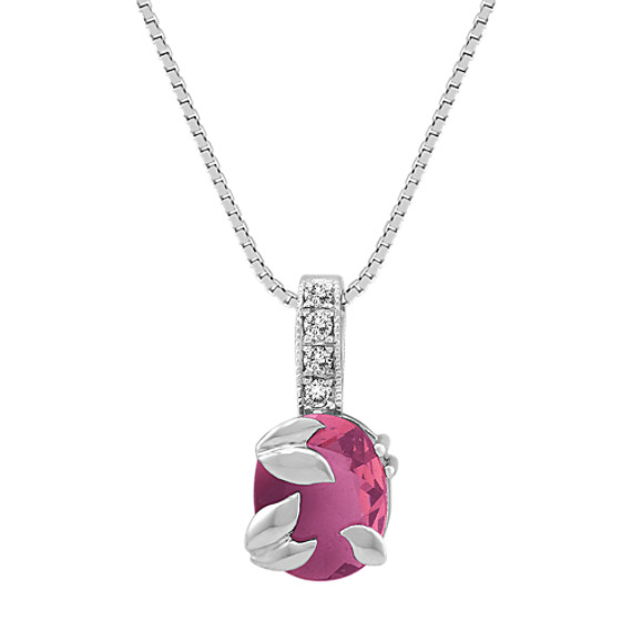 Oval Pink Sapphire and Round Diamond Pendant (18)