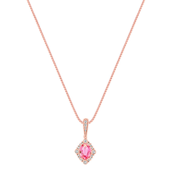 Oval Pink Sapphire and Round Sapphire Pendant in Rose Gold (18)