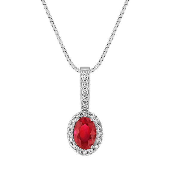 "Oval Ruby and Diamond Pendant (18"")"