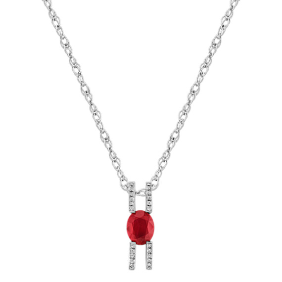 "Oval Ruby and Round Diamond Pendant (18"")"