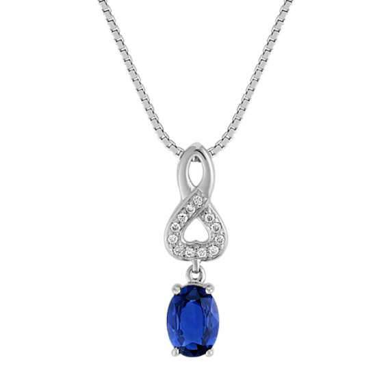 "Oval Sapphire and Diamond Pendant (18"")"