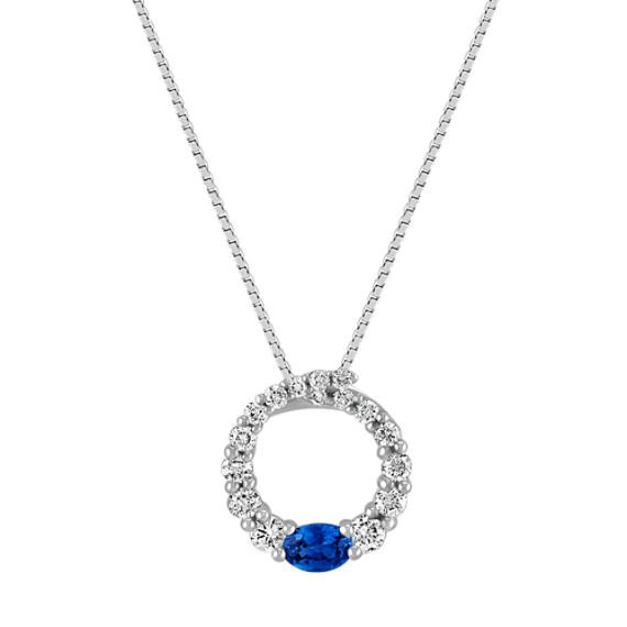 "Oval Sapphire and Round Diamond Circle Pendant (18"")"