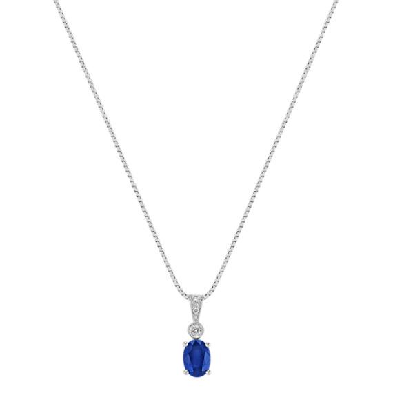 "Oval Sapphire and Round Diamond Pendant (18"")"