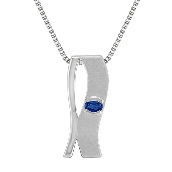 Oval Sapphire and Sterling Silver Pendant (18)