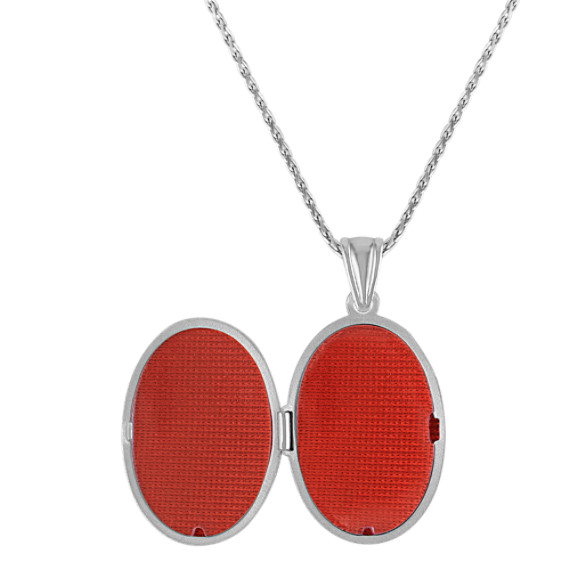 Oval Sterling Silver Locket with Rose Accents (24)