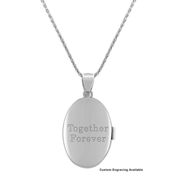 "Oval Sterling Silver Locket with Rose Accents (24"")"