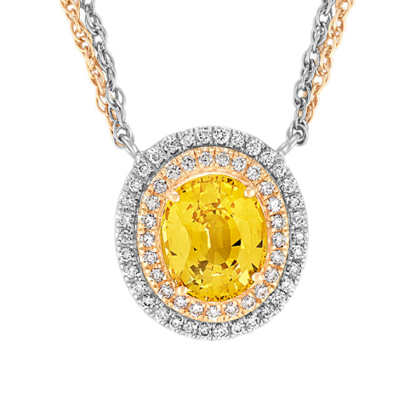 Oval Yellow Sapphire, and Round Diamond Necklace in Two-Tone Gold