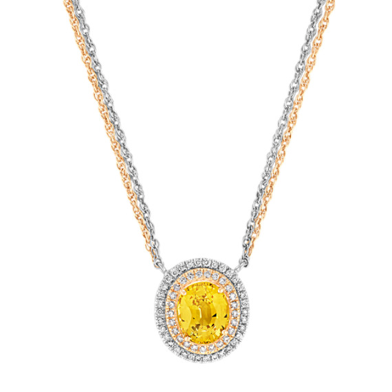 Oval Yellow Sapphire, and Round Diamond Necklace in White and Yellow Gold